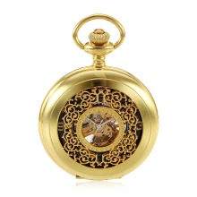 New Gold Flower Type Analog Selekton Steampunk Mens Hand Winding Mechanical Pocket Watch w/Chain Reloj de bolsillo