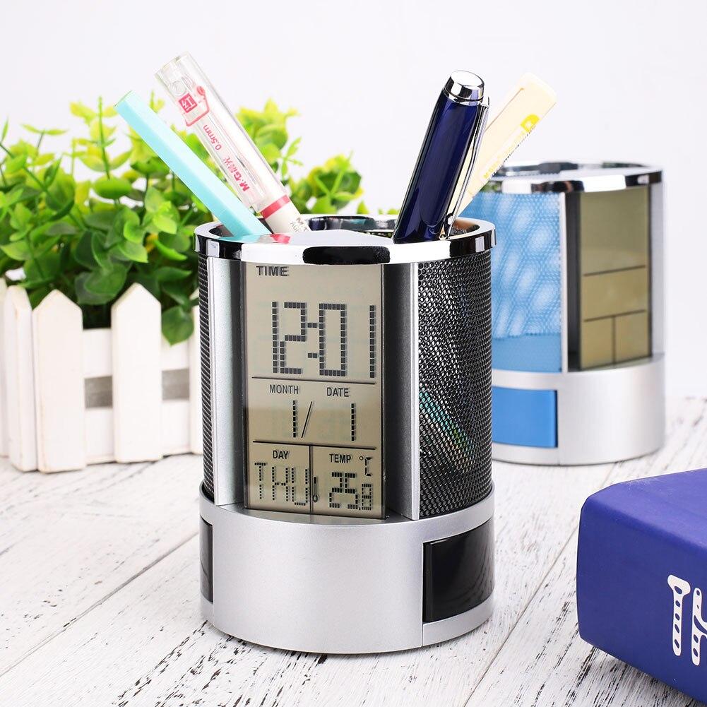 Multifunctional Pen Pencil Holder Digital Desk Alarm Clock Calendar Temperature Timer not Battery Soft And Antislippery
