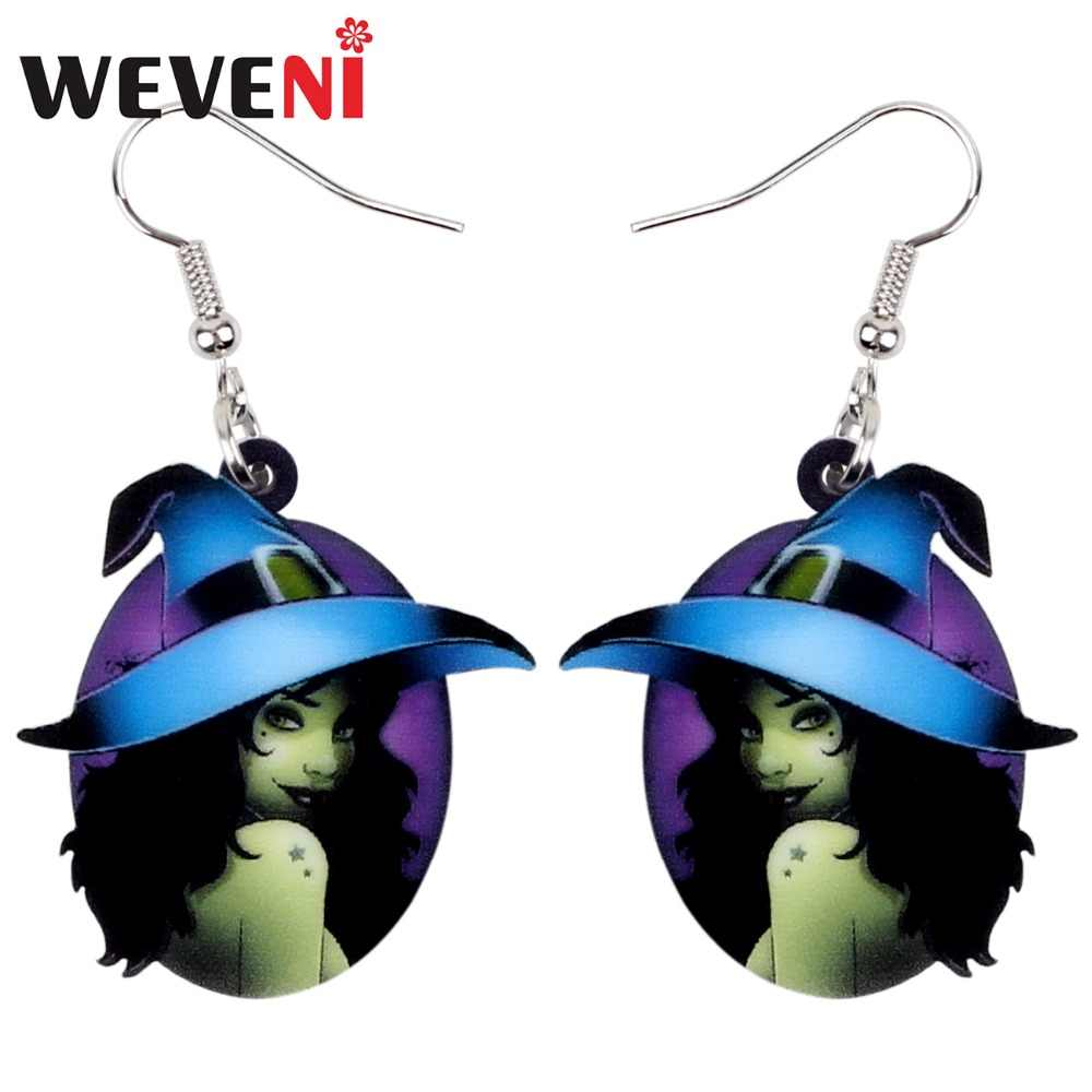 WEVENI Acrylic Halloween Mysterious Witch Earrings Dangle Drop Round New Trendy Jewelry For Women Girls Female Party Charms Gift