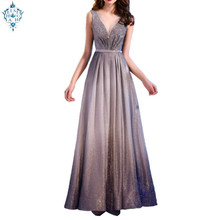 Ameision Elegant Slim Evening Dress 2019 Pleat Shiny Half Sleeve Gray Floor-length Dinner Gowns A-line robe de soiree