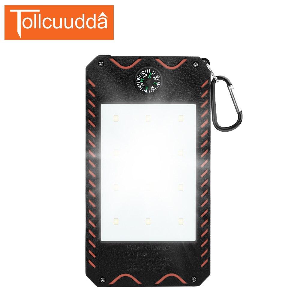 bilder für Tollcuudda Tragbare Solar Power Bank 10000 mah Für Sumsung Alle Handy Externes Power Wasserdicht 2 USB Mit Taschenlampe