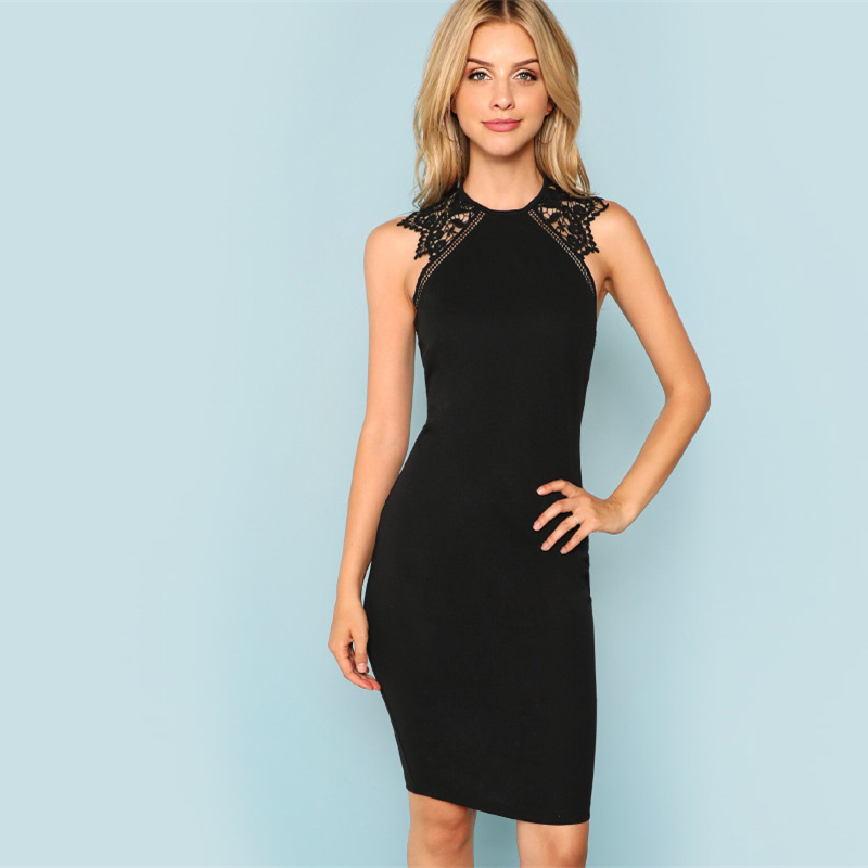 SHEIN Black Party Contrast Lace Insert Armhole Bodycon Sleeveless Natural  Waist Solid Dress 2018 Summer Women Sexy Dresses 0123b272b53f