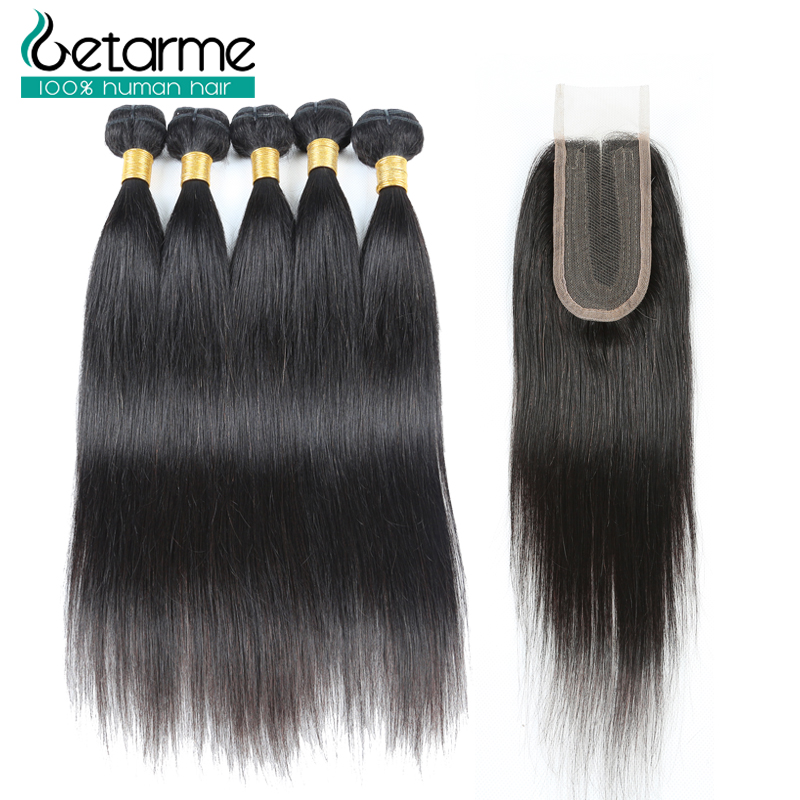 Brazilian Straight Human Hair 6 Bundles With Closure Remy Middle Part 2 4 Lace Closure With