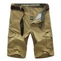 Gran venta nuevo 2015 verano Fresco marca ocasional de los hombres 100% puro algodón más tamaño pantalones cortos hombre de color caqui bolsillo grande de carga general pantalones
