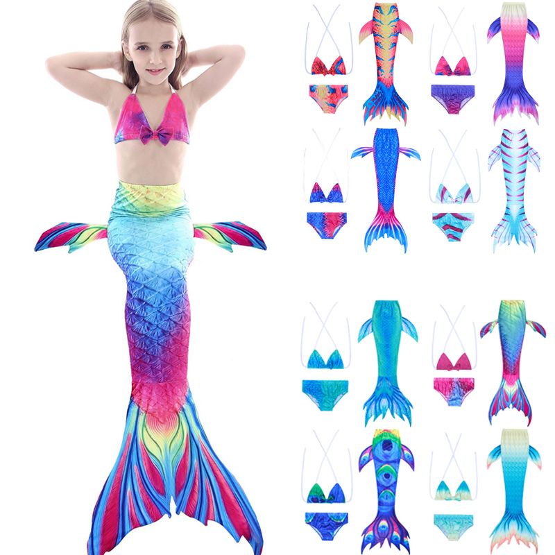 Kids Girl Swimwear Mermaid Tails 3pcs Set Fin Cosplay Costume Girls Zeemeerminstaart Cola De Sirena Cauda De Sereia For Swimming