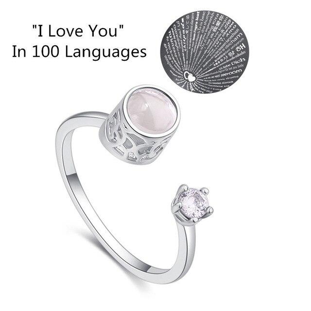 """8 сезонов новый 100 язык """"Я люблю тебя"""" Шарм проецирования кольца для женщин обувь девочек со стразами цирконовые разомкнутые Кольца Творческий ювелирны"""