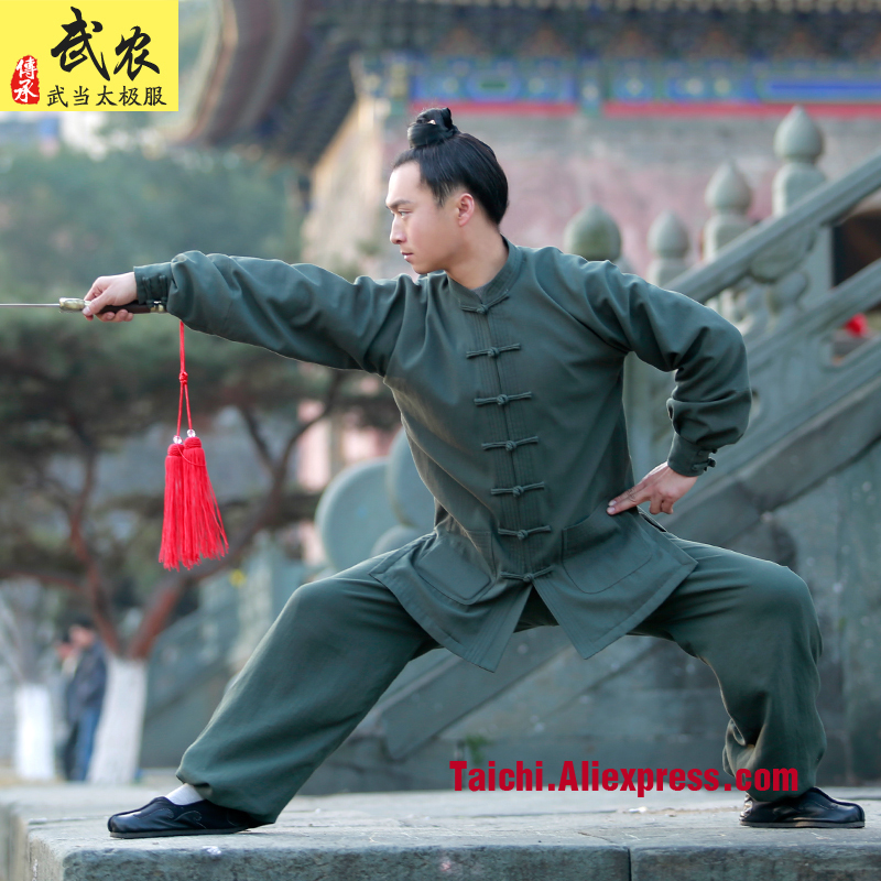 Thick Flax Handmade Tai Chi Uniform  Linen  Wushu, Kung Fu,martial Art Suit,green,black,red