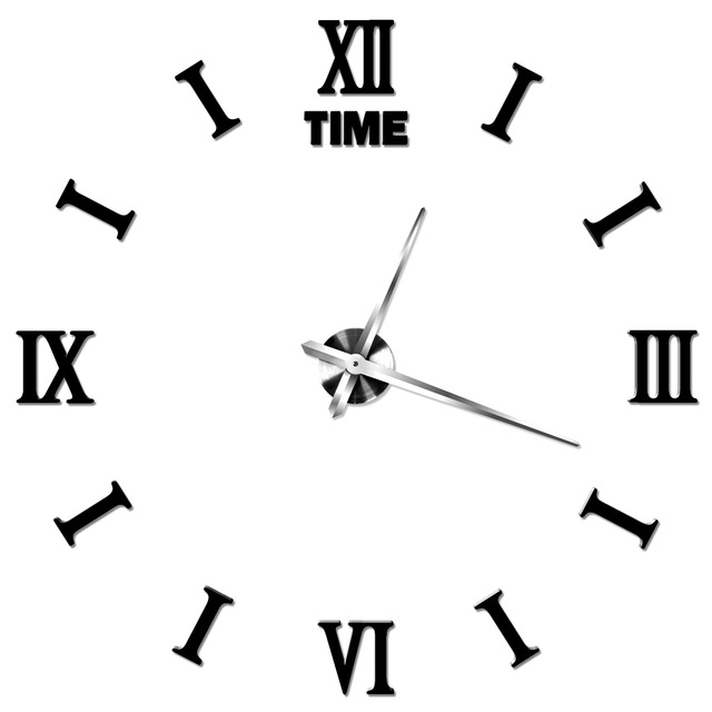 diy digital creative wall clock large size roman stylish home decor living room wall watch