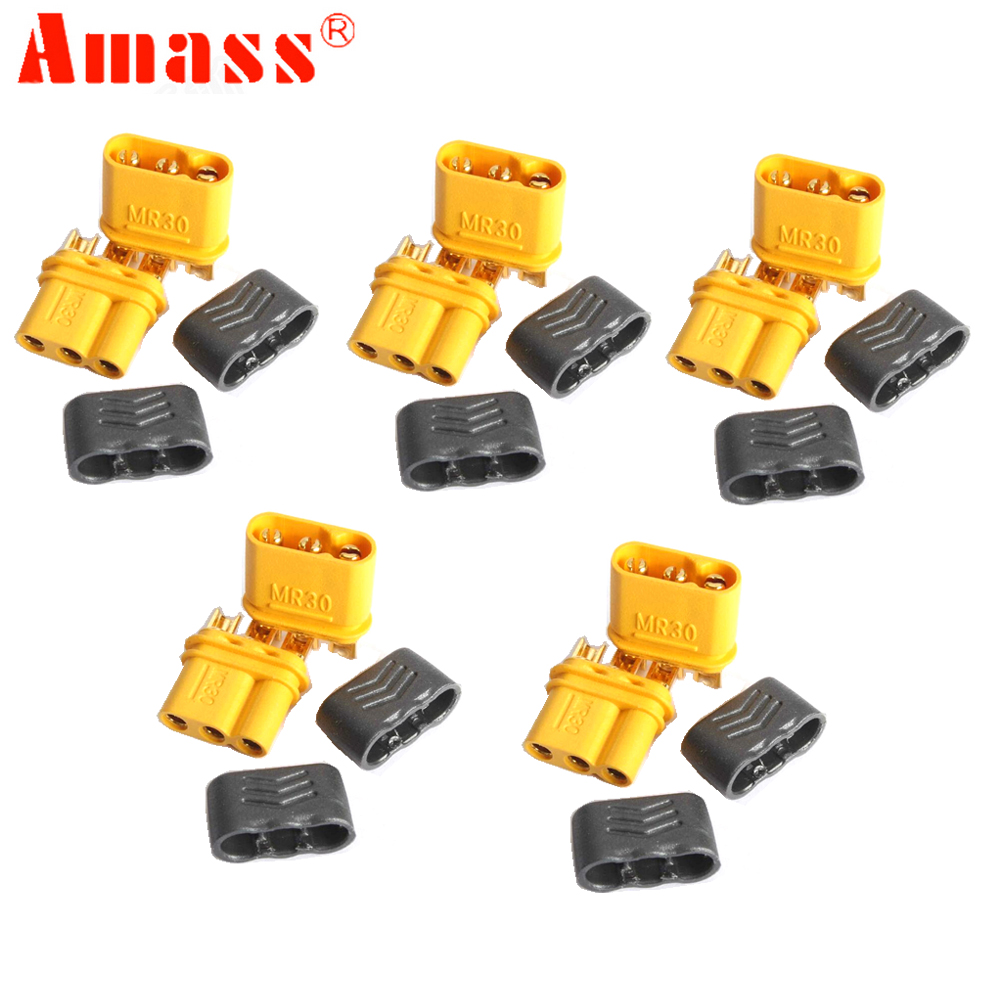 5pair Amass MR30 Connector Plug With Sheath Female & Male for RC Lipo Battery RC Multicopter Airplane 10 pair 4s1p cable male and female plug wholesale rc lipo battery balance cable with connector plug 4s battery
