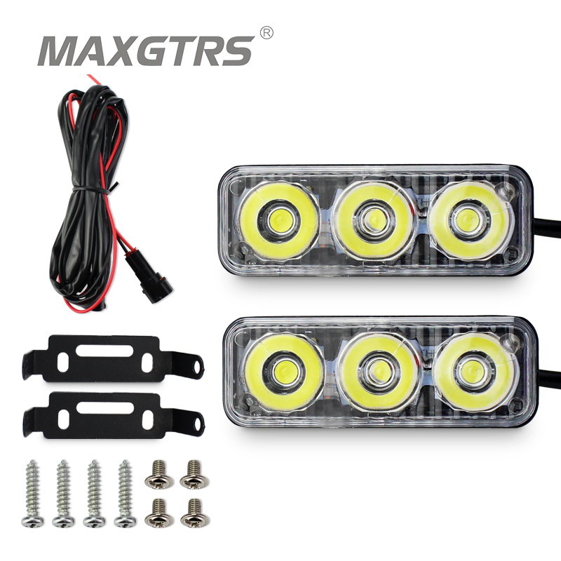 2x High Power Car Led 9W Universal Waterproof DRL Metal Shell Auto Lamp White With Yellow Turn Signal Daytime Running Lights