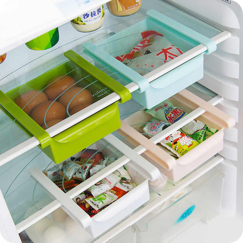 2pcs Thick refrigerator plastic drawers Fridge Storage box tray Food container fruit Candy Desktop Space Saver kitchen Organizer