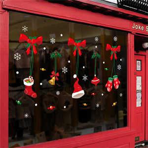 Image 3 - 2019 Cartoon Santa Claus Wand Aufkleber Wand Kunst Abnehmbare Hause Aufkleber Party Decor Frohe Weihnachten Fenster Film Aufkleber