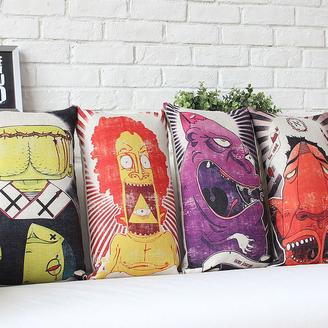 Cushion Cover Style Graffiti Throw Pillow Sofa 45 45cm Decorative