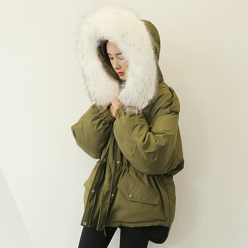 Detachable real raccoon fur collar hooded   down   jacket women adjustable sashes oversize   down     coat   outerwear 2019 autumn winter