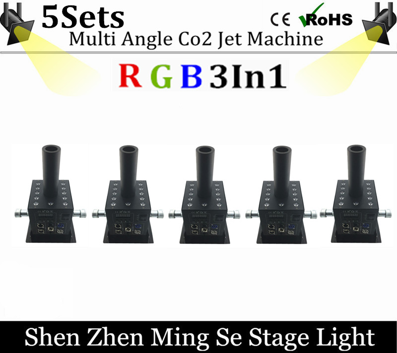 5sets  12x3w Led Multi Angle CO2 Jet DMX Adjustable Powercon Stage CO2 Device High Pressure Hose Multi Angle DJ CO2 Cannon grad co asst 3 3 4 multi