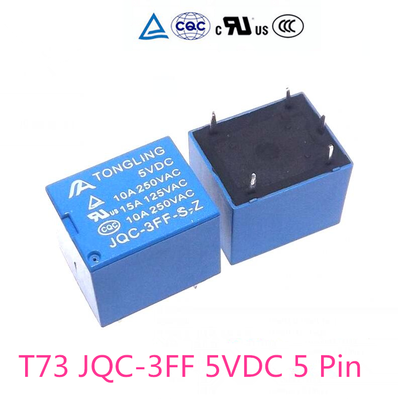 цена на 8pieces of relays 5 v 10A 250VAC JQC-3FF T73 power relays new good quality for SRD-5VDC-SL-C