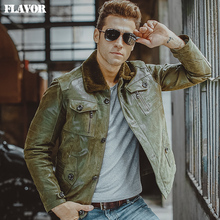 FLAVOR S-6XL pigskin green real Genuine Leather jackets winter warm padding cotton