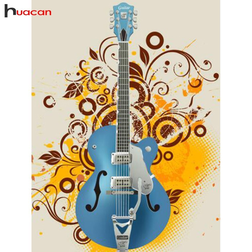 HUACAN Diamond Painting Full Square Guitar Diamond Embroidery Musical Instruments Diamond Mosaic Set Picture Of Rhinestones