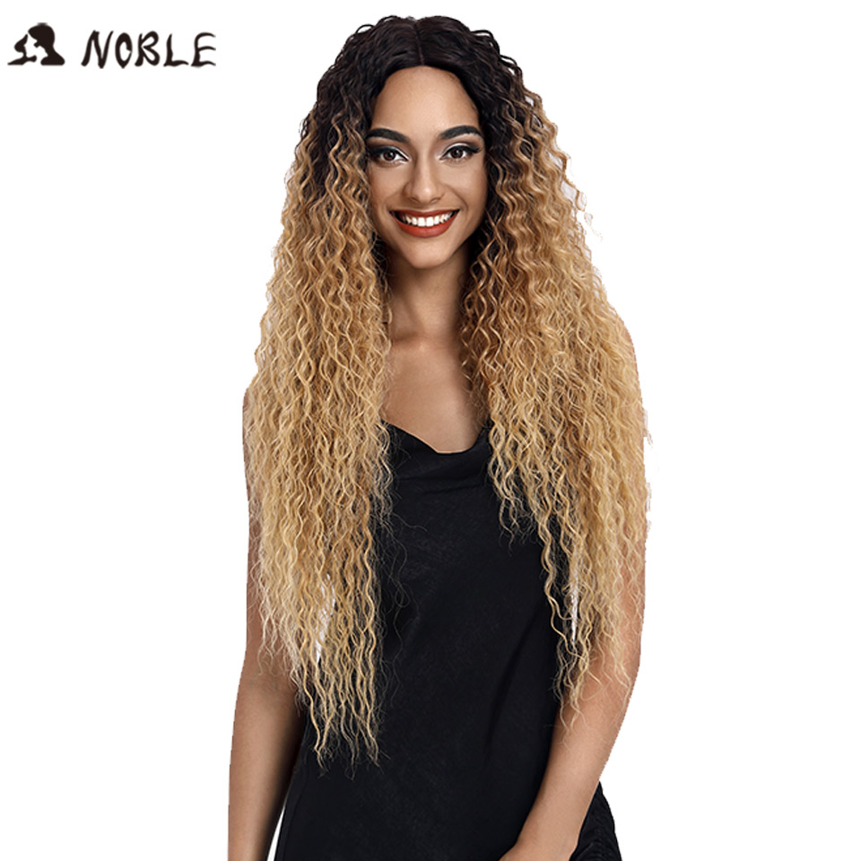 "Noble Lace Front Synthetic Wigs For Women Middle Part Long 32"" Soft Ombre Blonde Wig With Dark Roots Wavy Heat Resistant Fiber(China)"