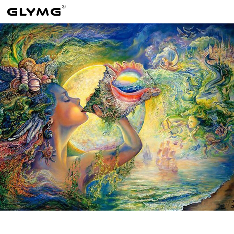 GLymg Needlework Diy Diamond Painting Full Kit Magic Fairy Conch Diamond Embroidery Rhinestones Embroidery Mosaic Decoration