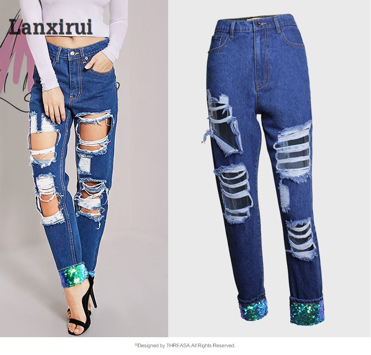 New Arrivals Women High Waisted   Jeans   Ripped Denim Pants Trousers Sequins Spliced Boyfrien   Jeans   Calca   Jeans