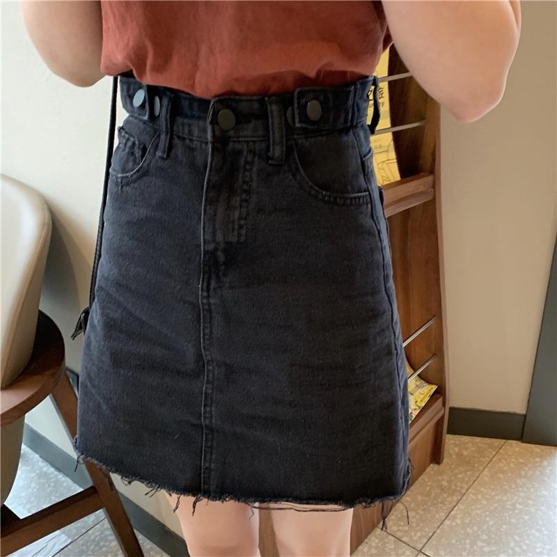 Q685 Jean Bolsillos Cintura Mujeres Denim Llegada De Faldas 2019 Nueva Estilo Mini Azul Línea Falda Botón Alta Casual Verano OU16xnEqOw