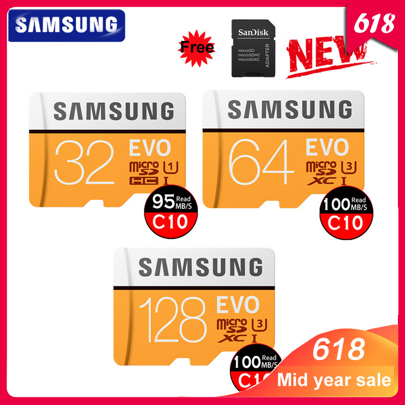 SAMSUNG 32GB Micro SD EVO 64GB Memory Card Class 10 128GB Max 100MB/s SDHC SDXC U3 UHS I TF Card 4K HD for Smartphone Tablet PC-in Micro SD Cards from Computer & Office
