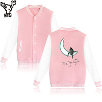 BTS 공간 야구 재킷 소년 겨울 재킷 남성 따뜻한 긴 펑크 스타일 패션 재미 오