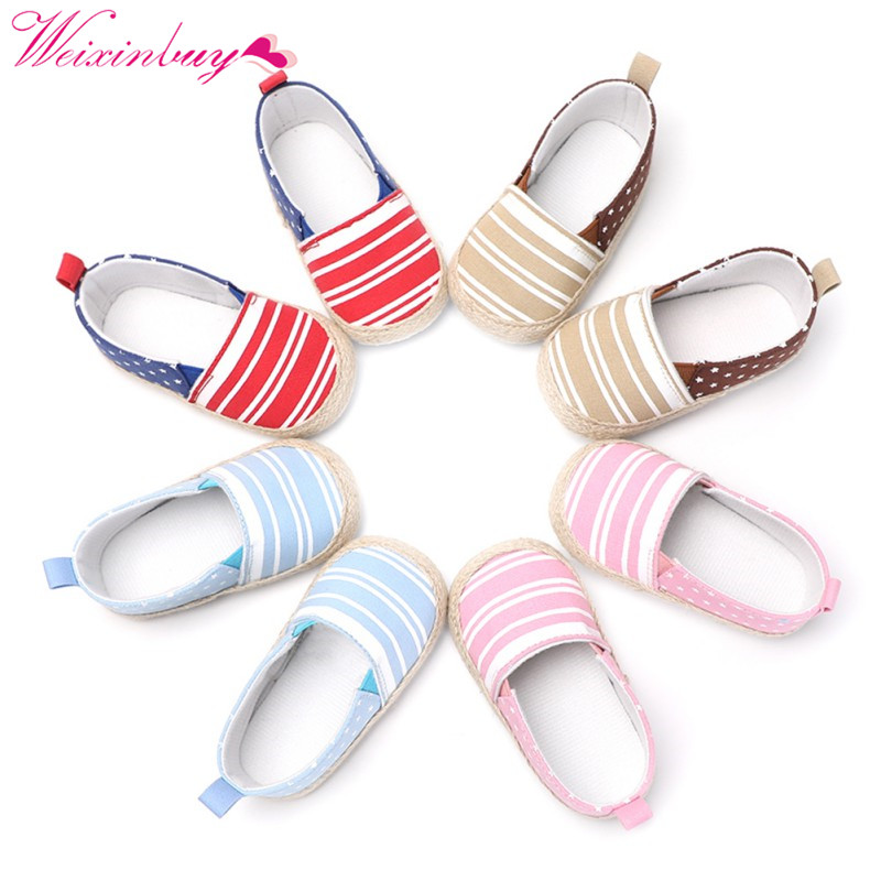 Newborn Baby Girl Shoes Stars Stripe Fashion Cotton Baby Shoes First Walkers Baby Boy Shoes Spring Sports