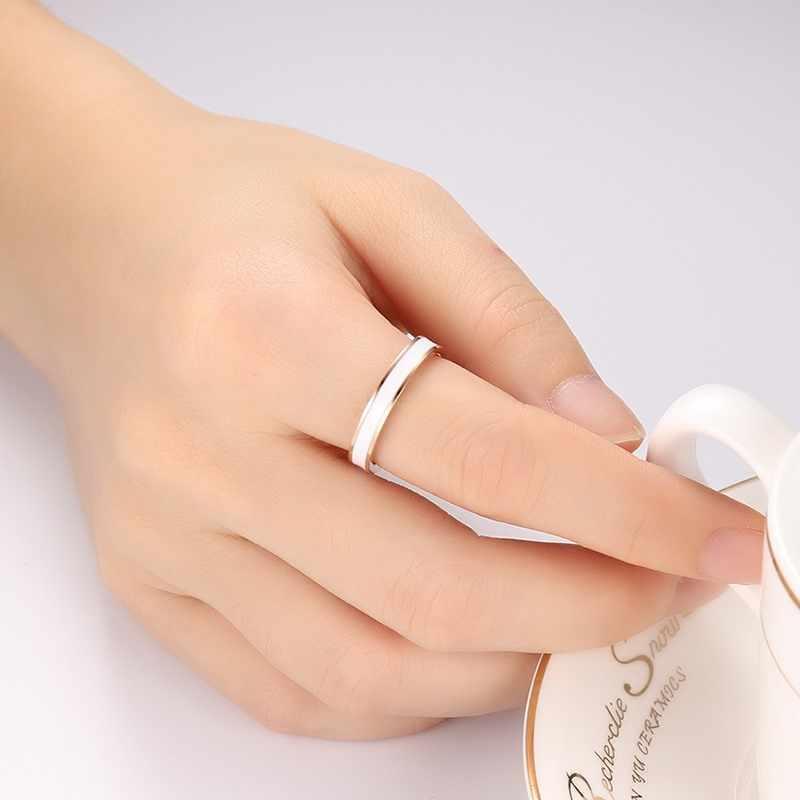 Meaeguet กว้าง 3.5 มม.สีดำ/สีขาวงานแต่งงานสำหรับสุภาพสตรีแหวน Rose Gold เครื่องประดับสแตนเลสสี