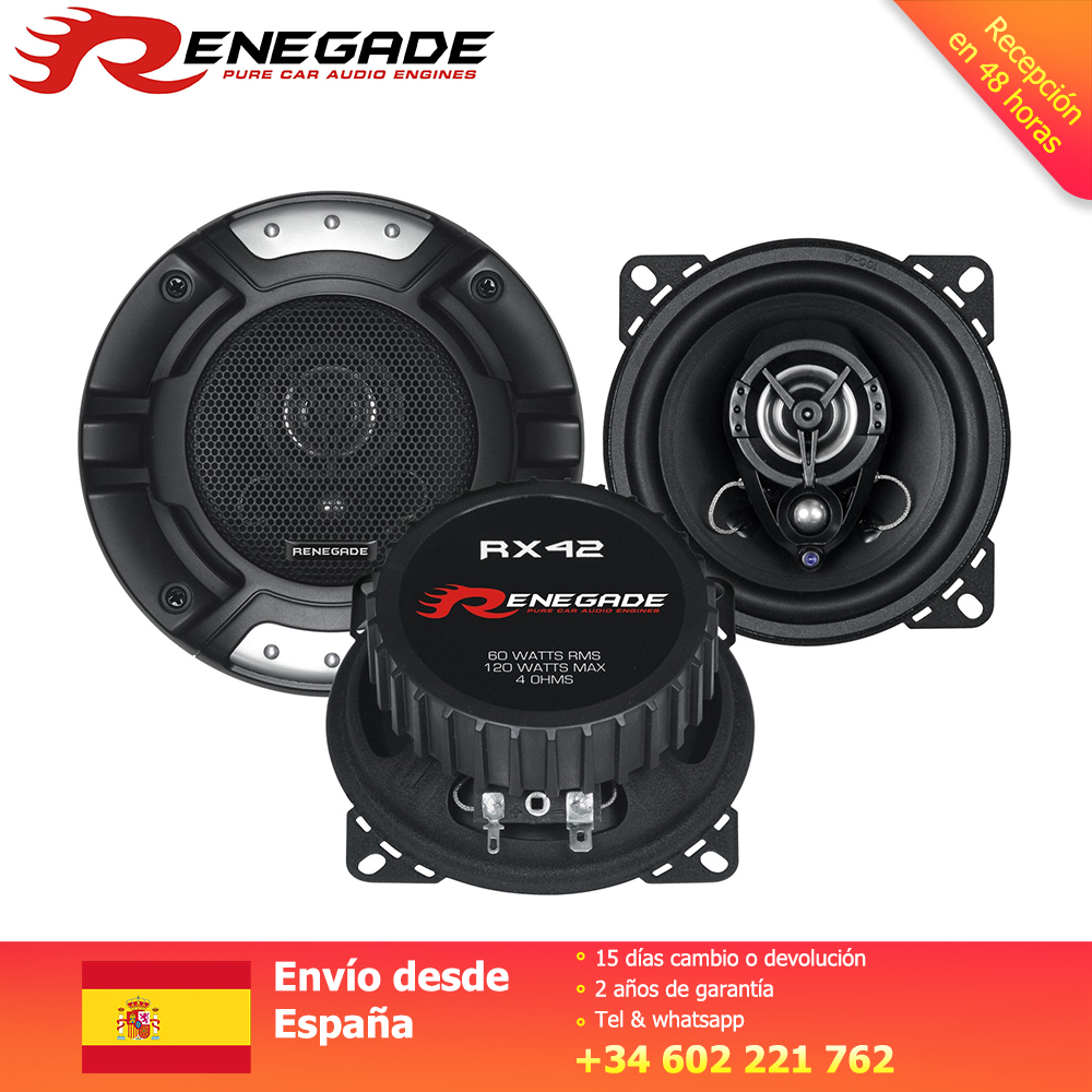 RENEGADE Altavoz Coax System Car Coaxial Speaker Poly Cone Magnet Boot including Grilles Power 60/120 Watts Impedance 4 Ohms