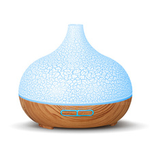 Ultrasonic Air Humidifier 400 ML Aroma Essential Oil Diffuser  with Wood Grain 7 Color Changing LED Lights for Living Room