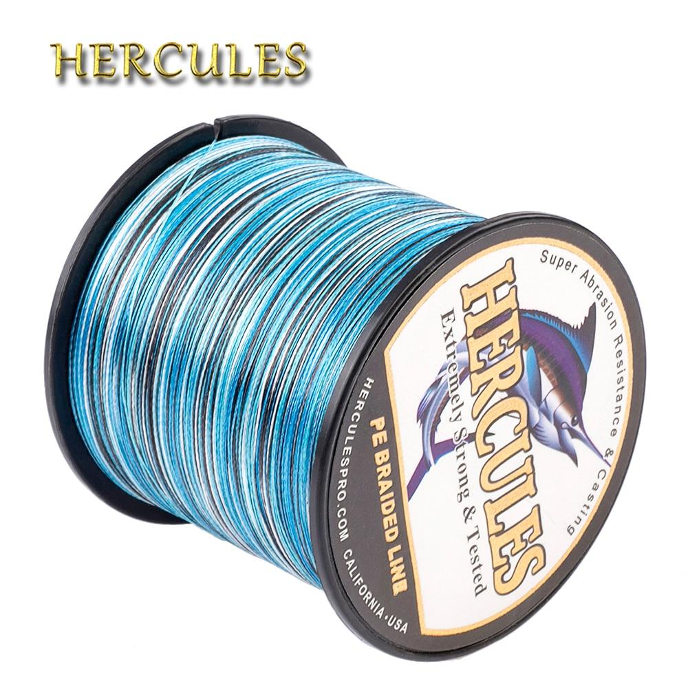 Hercules Fishing 4 Strands 100M 300M 500M 1000M 1500M 2000M PE Braided Fishing Line Saltwater Weave Carp Fishing Cord Pesca Wire