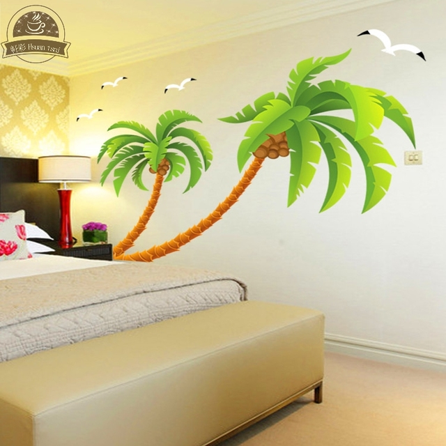 Green coconut tree gulls vinyl wall stickers home decor rooms living ...