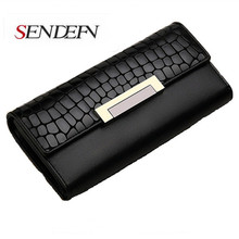 Sendefn of women's purse vintage genuine leather wallets,designer brand long Purse Clutch lady party cardholder wallet women