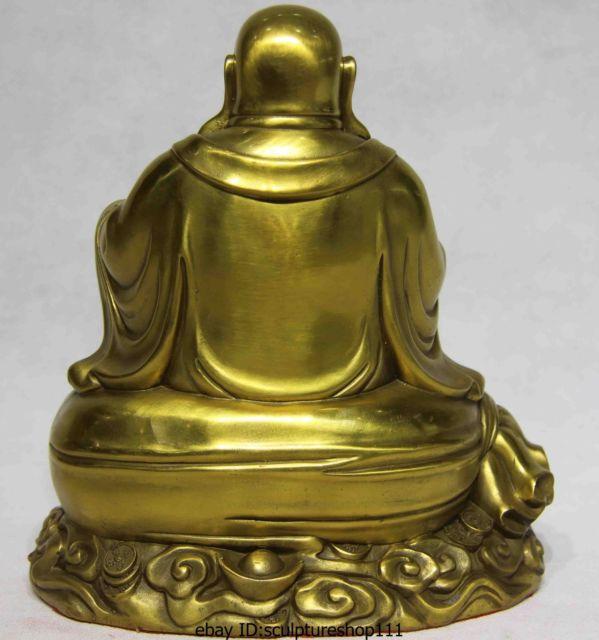 Rare Folk Brass Copper sack Maitreya Rohan Buddhist monk Buddha Statue Garden Decoration 100% real Brass Bronze