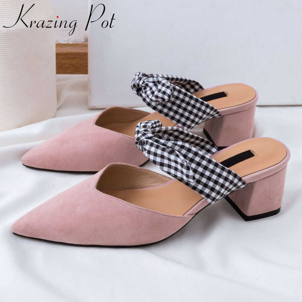 Krazing Pot sweet princess style chunky med heels butterfly-knot design slip on mules dating lazy girls pointed toe pumps L26Krazing Pot sweet princess style chunky med heels butterfly-knot design slip on mules dating lazy girls pointed toe pumps L26