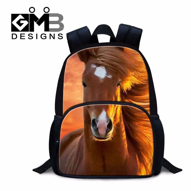 baed47503477 Best Book Bags for Kids Horse Printing Small School Backpacks for Child  Cool Boys Backpacks for