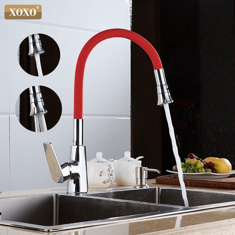 Xoxo torneira da cozinha laranja fria e quente único titular único furo 360 graus de rotação torneira misturadora 1302