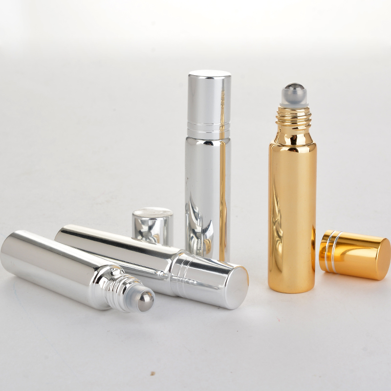 Wholesale 100 Pieces/Lot 10ML Refillable Mini Cute UV Glass Perfume Bottle With Roll On Empty Essential Oil Case Eye Cream Vial