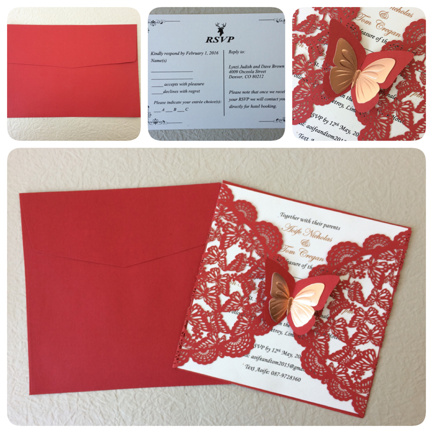 red wedding invitation cards  laser cut paper wedding invitations  bridal shower invitation