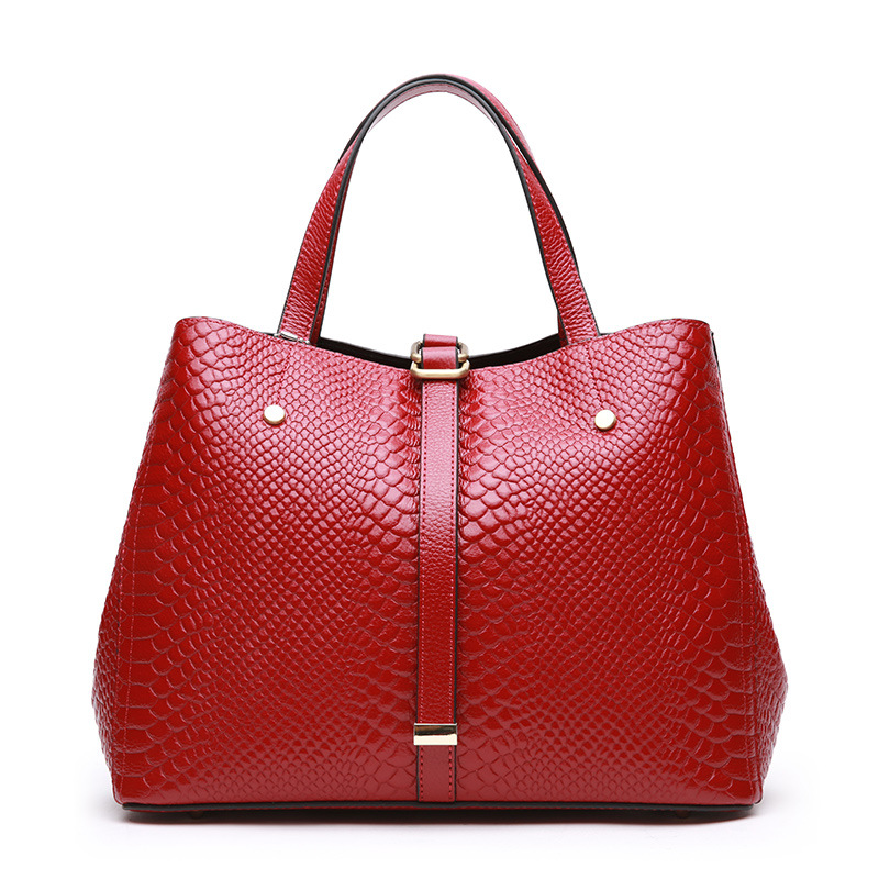 New Serpentine Pattern Cow Leather Women's Bag Handbag European&American Fashion Style Shoulder Messenger bags Black Red Gray high quality carved black red mens dress oxfords lace up pointed toe genuine leather wedding mens business for work shoes