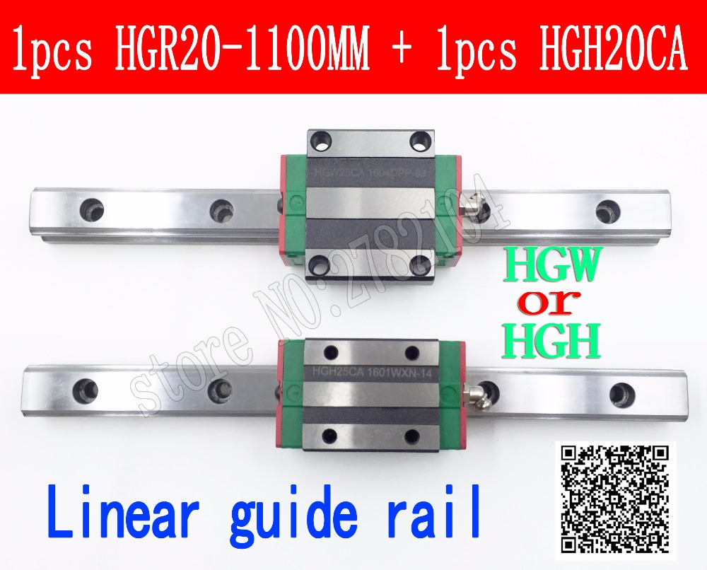New linear guide rail HGR20 1100mm long with 1pcs linear block carriage HGH20CA HGH20 HGW20CC CNC parts