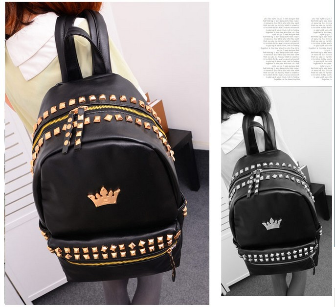 2 piecs black Punk PU leather backpack schoolbag unisex shoulder bag with gold rivets