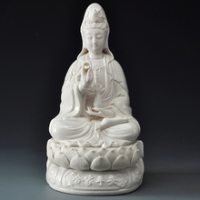 Buddhism White Ceramic Statue of the Guanyin Sitting On Lotus Goddess Mercy Buddha Sculpture Porcelain Decorative Crafts
