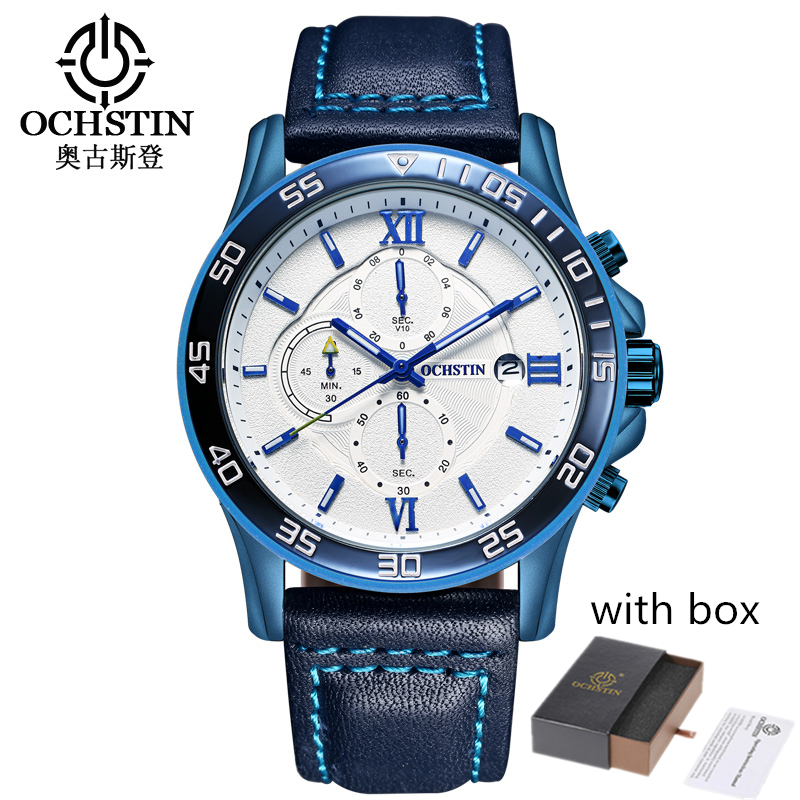 OCHSTIN Fashion Wrist Watch Men Waterproof Leather Band Quartz Wristwatch Clock Male Relogio Masculino Hodinky Dropship With Box футболка print bar ford mustang shelby gt500 [шредер]