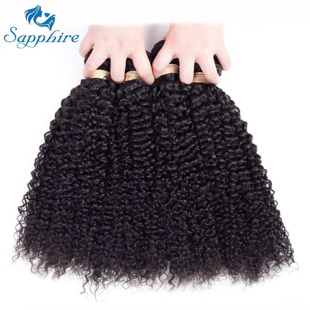 Sapphire Malaysian Curly Hair Weave Bundles 1 Piece Virgin Hair Human Hair Weaving Natural Color 8-28inch Free Shipping
