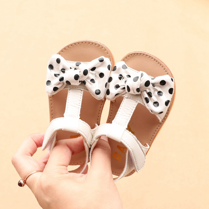 Summer Baby Girl Sandals Cute Polka-dot Bow Girls Shoes Infant Toddler First Walkers 15-19