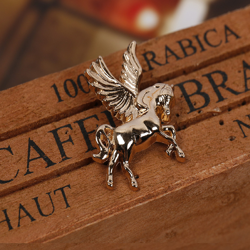 Mdiger Wholesale 10 PCS/LOT Vintage Horse Design Metal Collar Pin Men Suit Sweater Brooch Short Pin Shirt Pin