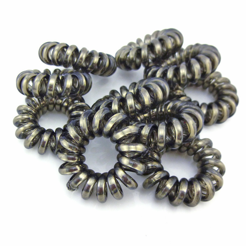 10 Pcs/Lot Gun Black Telephone Wire Cord Line Gum Holder Elastic Hair Band Tie Scrunchy Hair Accessory